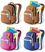stock photo of knapsack  - A school backpack in 4 different versions.