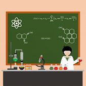Cartoon Chemistry Concept . Chemistry Laboratory. Chemistry Test. Chemistry Experiment. Isolated Che poster