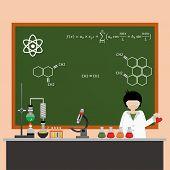 Cartoon Chemistry Concept . Chemistry Laboratory. Chemistry Test. Chemistry Experiment. Isolated Che poster