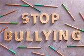 Text Stop bullying on grey background poster