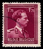 BELGIUM-CIRCA 1950:A stamp printed in BELGIUM shows image of Leopold III reigned as King of the Belg