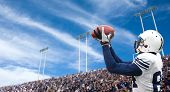 picture of offensive  - Football Player catching a touchdown pass - JPG