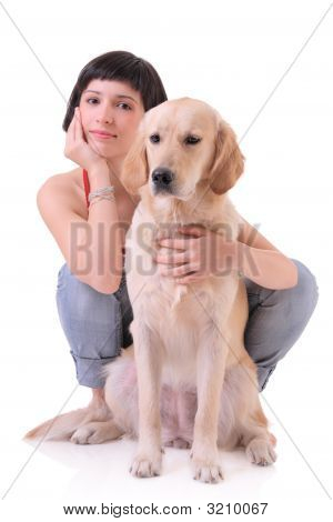 Girl And Her Dog (Labrador Retriever)