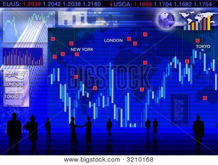 Escena de mercado de intercambio de moneda