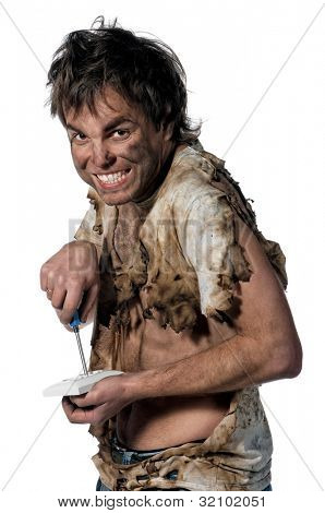 Portrait of funny electrician over white background