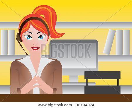 Recepcionista femenino ilustración