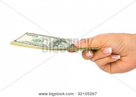 Many dollars falling on woman's hand with money
