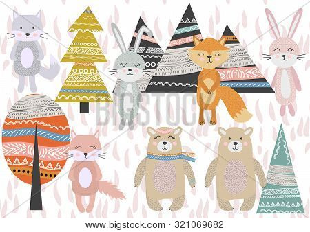 poster of Cute Scandinavian Style Animals And Design Elements. A Set Of Animals In The Scandinavian Style: Bea