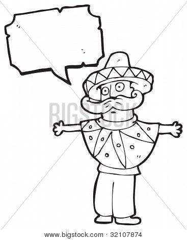 cartoon man in mexican outfit