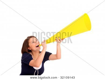 A picture of a young happy woman with a megaphone announcing your product over white background