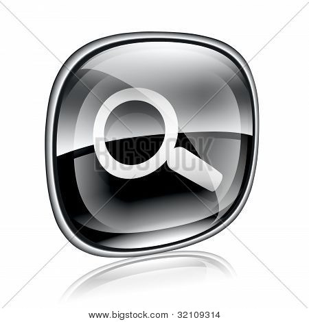 Magnifier Icon Black Glass, Isolated On White Background.