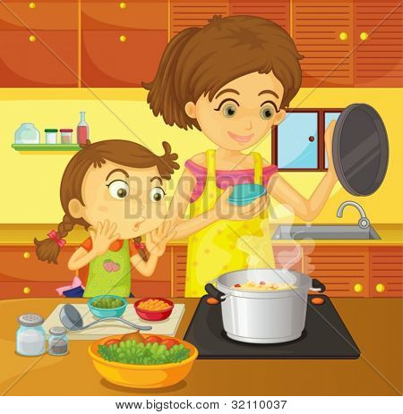 Illustration of helping at home concept
