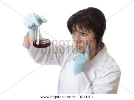 Female Scientist With Erlenmeyer Flask