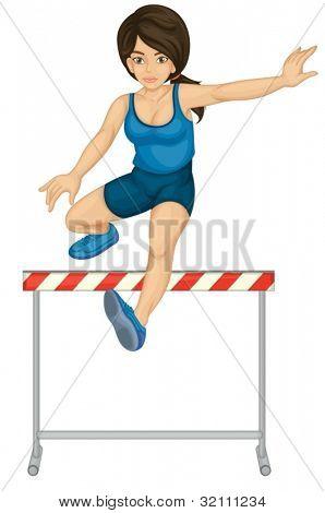 Illustration of lady doing hurdles