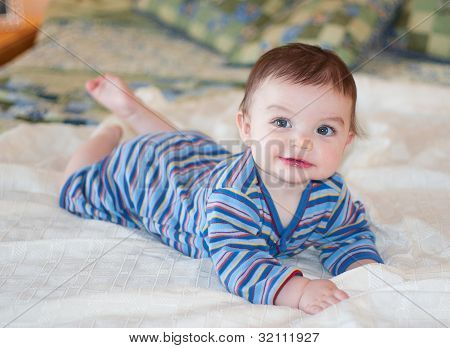 Baby In Blue Striped Outfit