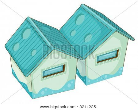Illustration of 2 buildings isolted