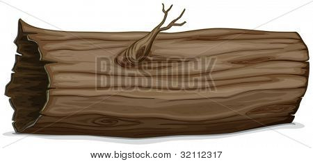 Illustration of a detailed hollow log