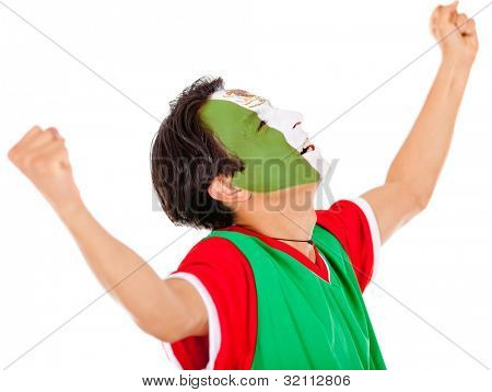 Excited Mexican man with arms up celebrating - isolated over white
