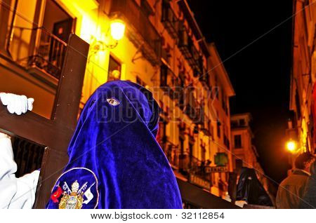 GRANADA, SPAIN - APRIL 4: Easter Procession of Cofradia of Jesus de las Tres Caidas y Nuestra Senora del Rosario on April 4, 2012 in Granada, Spain. This cofradia, confraternity, was founded in 1927