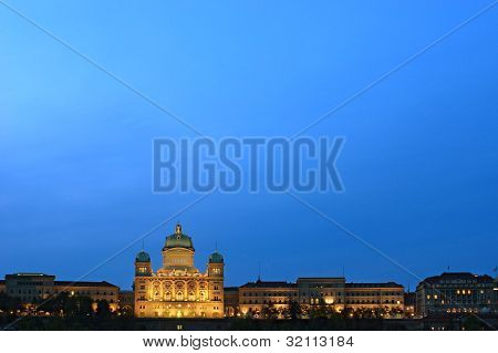 Federal Palace Of Switzerland At Dusk