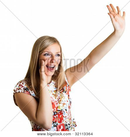 Woman Pointing Finger Isolated On White