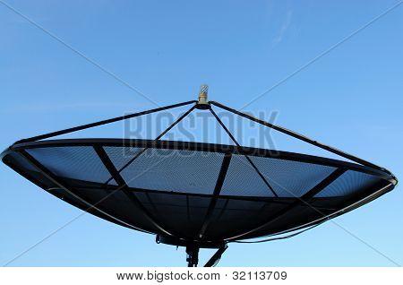 Satelite Dish On Blue Sky Blackground