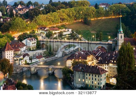 Old Town Of Bern With Aare River
