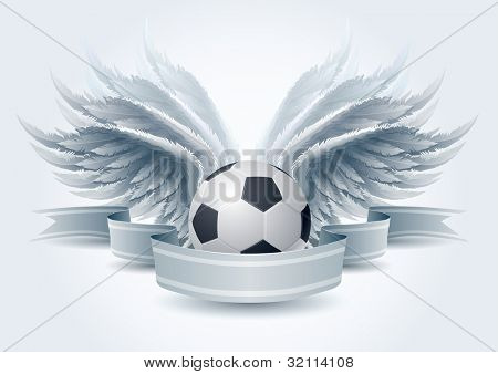 Highly detailed vector wings and soccer ball banner illustration. Elements are layered separately in vector file. Easy editable.