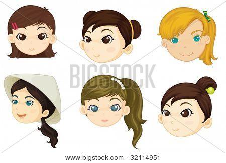 Illustration of girls heads on white