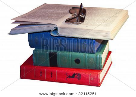 a stack of books isolated