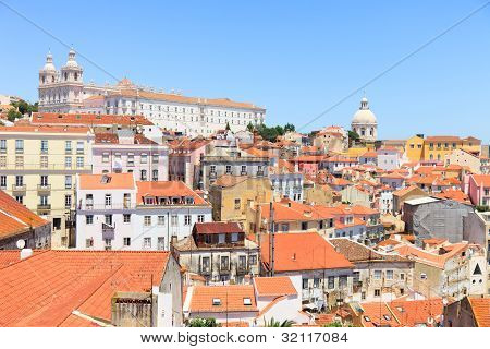 Alfama View, Lisbon. Roofs, Monastery Sao Vicente, Church Santa Engrácia