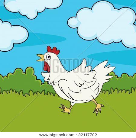 Illustration of chicken running in field