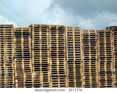 Pallets Against Cloudy Sky
