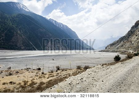 Empty River In Himalaya Mountains