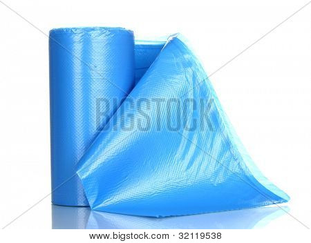 Roll of blue garbage bags isolated on white