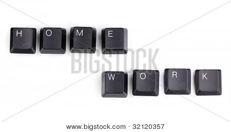 Keyboard keys saying home work isolated on white