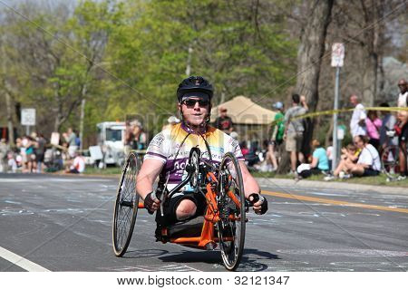Boston Marathon 2012 Mile 21 Handcycles