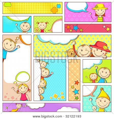 illustration of set of kids banner in different size and layout