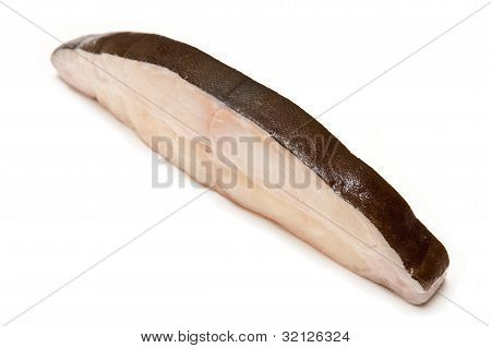 Halibut Fish Steak Isolated On A White Studio Background.
