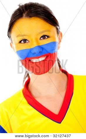 Happy Colombian woman - isolated over a white background