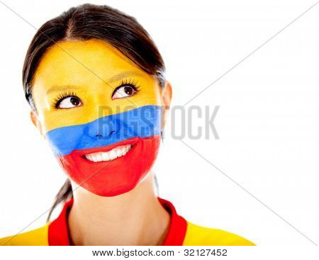 Thoughtful Colombian woman with painted face - isolated over a white backgorund