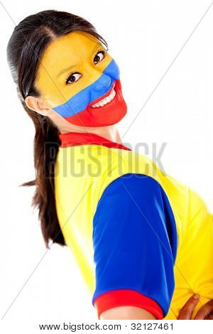 Beautiful Colombian woman - isolated over a white background