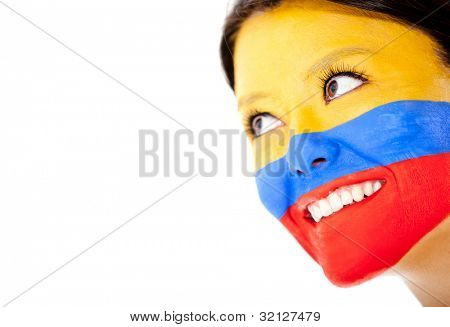 Colombian woman smiling - isolated over a white background