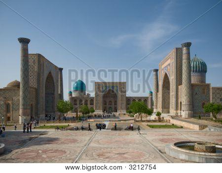 Minaretes de Registan, Samarkand, Uzbekistán