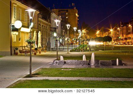 Town Of Krizevci Walkway Night Scene