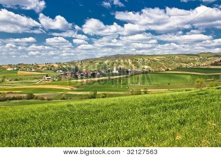 Beautiful Green Springtime Landscape In Croatian Village
