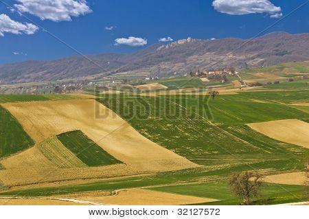 Beautiful Green Scenery - Fields And Mountain