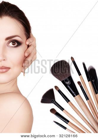 Fashion Portrait With Cosmetic Brushes