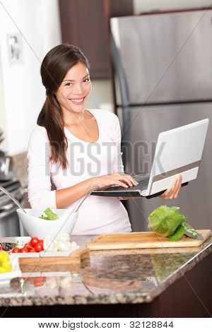 Kitchen Woman On Laptop