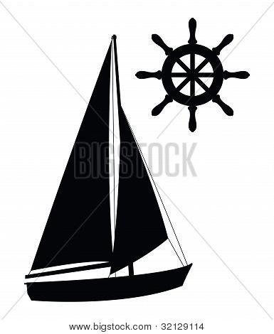 Sailing symbol silhouettes
